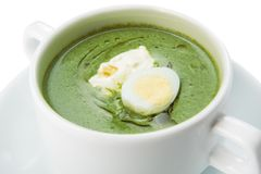Restaurant food isolated - creamy spinach soup Stock Photo