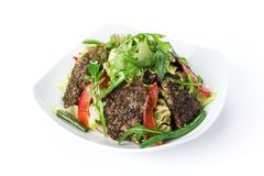 Restaurant food isolated - fried beef salad stock photo