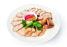 Restaurant food isolated - meat assortment plate Stock Photography
