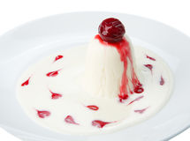 Restaurant food isolated - panna cotta dessert Stock Photos
