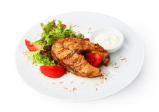 Restaurant food isolated - pikeperch fish steak Royalty Free Stock Image
