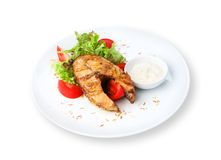 Restaurant food isolated - pikeperch fish steak Royalty Free Stock Photos