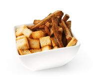 Restaurant food isolated - salted crouton mix beer snack Royalty Free Stock Images