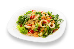 Restaurant food isolated - seafood salad with calamari rings Stock Photography