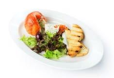 Restaurant food isolated - smoked salmon ball with mascarpone Stock Photos