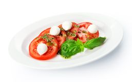 Restaurant food isolated - tomatoes with mozzarella Royalty Free Stock Image