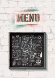 Restaurant food menu design on the brick wall background. Set of hand-drawn food on blackboard. Vector illustration. Stock Image