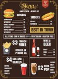 Restaurant Food Menu Design with brown Background vector format Royalty Free Stock Photography