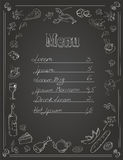 Restaurant Food Menu Design with Chalkboard Stock Photo