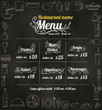 Restaurant Food Menu Design with Chalkboard Background vector fo Stock Photography