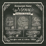 Restaurant Food Menu Design with Chalkboard Background Royalty Free Stock Photography