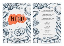 Restaurant food menu hand drawn design. Cafe price catalog, junk food card with snack linear sketches. Fast foodtemplate with hand drawn pizza, hot dog Royalty Free Stock Image