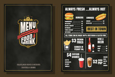 Restaurant Food Menu Vintage Design with Chalkboard Background v Royalty Free Stock Photo
