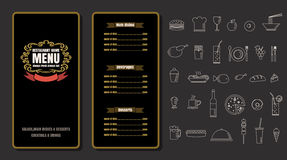 Restaurant Food Menu Vintage Design with Chalkboard Background v Stock Image
