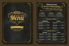 Restaurant Food Menu Vintage Design with Chalkboard Background Stock Photo