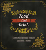 Restaurant Food Menu Vintage Typographic Design Chalkboard Backg Royalty Free Stock Image