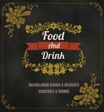 Restaurant Food Menu Vintage Typographic Design Chalkboard Backg Royalty Free Stock Image