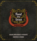 Restaurant Food Menu Vintage Typographic Design  with line icon Royalty Free Stock Images