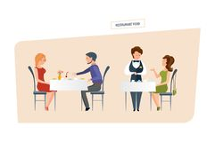 Restaurant food. People eat at the restaurant and make orders. Restaurant food concept in two scenes. People character person. Couple drink wine, eat and spend royalty free illustration