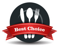 Restaurant Food Quality Badge. This image is a vector file representing a restaurant logo, plate with fork, knife and spoon Stock Photos