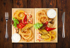 Restaurant food - roasted seafood with grilled vegetables assort Royalty Free Stock Images