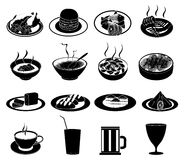 Restaurant food serving icons Stock Image