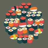 Restaurant Food Sushi Sashimi and Rolls Vector Flat Design Circl Royalty Free Stock Image