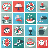 Restaurant food and utensil icons Stock Photo