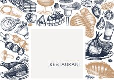 Restaurant food vector frame. Hand drawn drinks, meat, seafood, fish, vegetables and desserts illustrations. Food and drinks