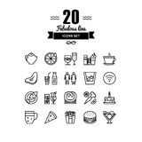 Restaurant foods and beverages line icons set. Thin lines icons set of restaurant food and beverages, cafe menu items, popular healthy and various fast-food stock illustration