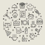 Restaurant and foods outline icons set. Drink and sausage, fish and wine, coffee and dish, vector illustration Stock Image