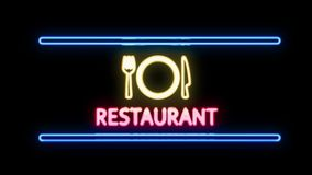 RESTAURANT with Fork Knife Plate Neon Sign in Retro Style Turning On stock video