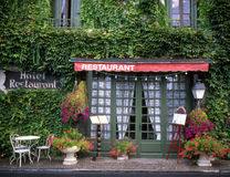 Restaurant in France. Outside of a restaurant in France with menu sign Royalty Free Stock Photos