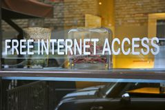 Restaurant with free internet access Royalty Free Stock Photos