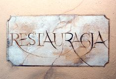 Restaurant fresco sign. Royalty Free Stock Photo