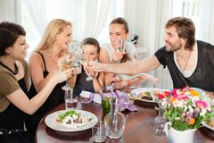 Restaurant Friends Dining Royalty Free Stock Photos