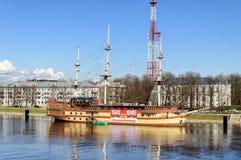 Restaurant frigate Flagship in Veliky Novgorod, Russia Stock Images