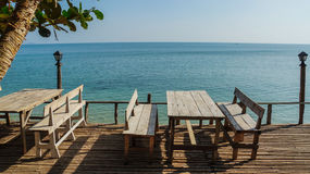 Restaurant in front of a sea. Restaurant tables in front of a sea Stock Photography