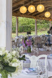 Restaurant garden with tables and flowers Royalty Free Stock Photo