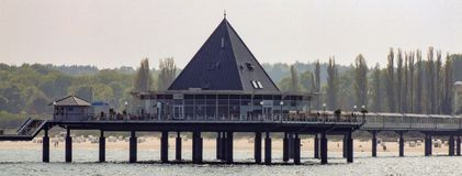 Restaurant gelegen im Pier in Heringsdorf in Deutschland Lizenzfreies Stockbild