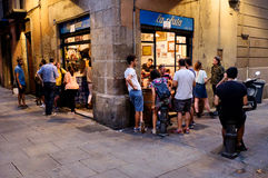 Restaurant Gothic Quarter Barcelona Stock Photo