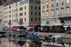 Restaurant in The Grand Canal in Trieste, Italy Royalty Free Stock Photos