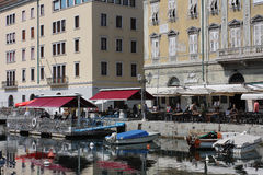 Restaurant in The Grand Canal in Trieste, Italy Royalty Free Stock Image
