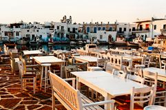 Restaurant in Greece. Empty tables of restaurant in  Naoussa, Greece Stock Photography
