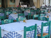 Restaurant in Greek. Beautiful Garden restaurant in Greek royalty free stock image