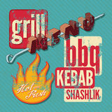 Restaurant grill menu typographic design. Retro grunge vector illustration. Stock Photos