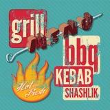 Restaurant grill menu typographic design. Retro grunge vector illustration. Stock Photos