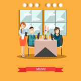 Restaurant guests vector illustration in flat style Stock Image