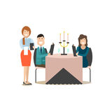 Restaurant guests vector illustration in flat style Stock Photography