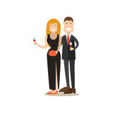 Restaurant guests vector illustration in flat style Royalty Free Stock Image